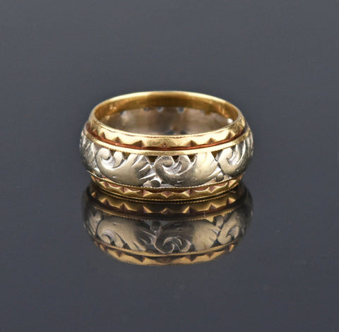Art Nouveau 14K Gold Wide Eternity Band Ring