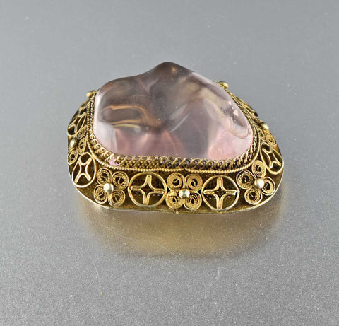 Silver Gold Vermeil Vintage Chinese Amethyst Brooch