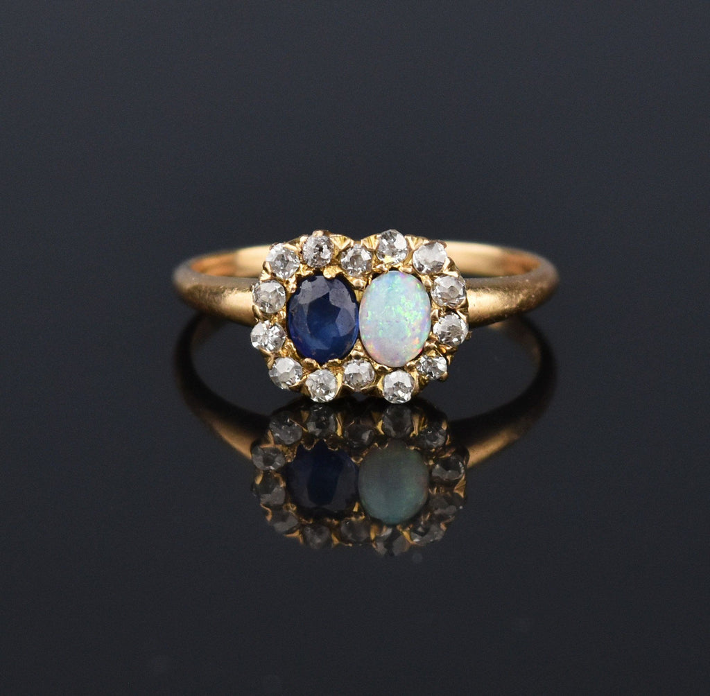 Antique 14K Gold Opal Sapphire Diamond Halo Ring - Boylerpf
