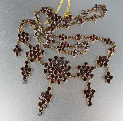 Antique Victorian Bohemian Garnet Necklace, 1800s