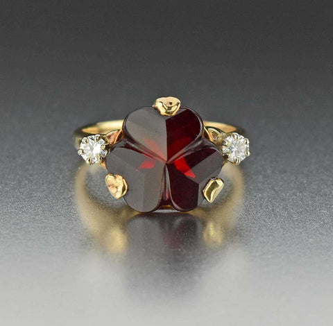 Diamond Fancy Cut Ruby Cocktail Ring
