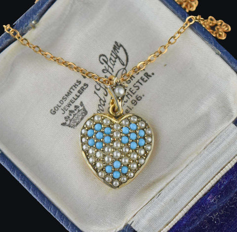 Pave Pearl Turquoise Puffy Heart Pendant Necklace - 1900
