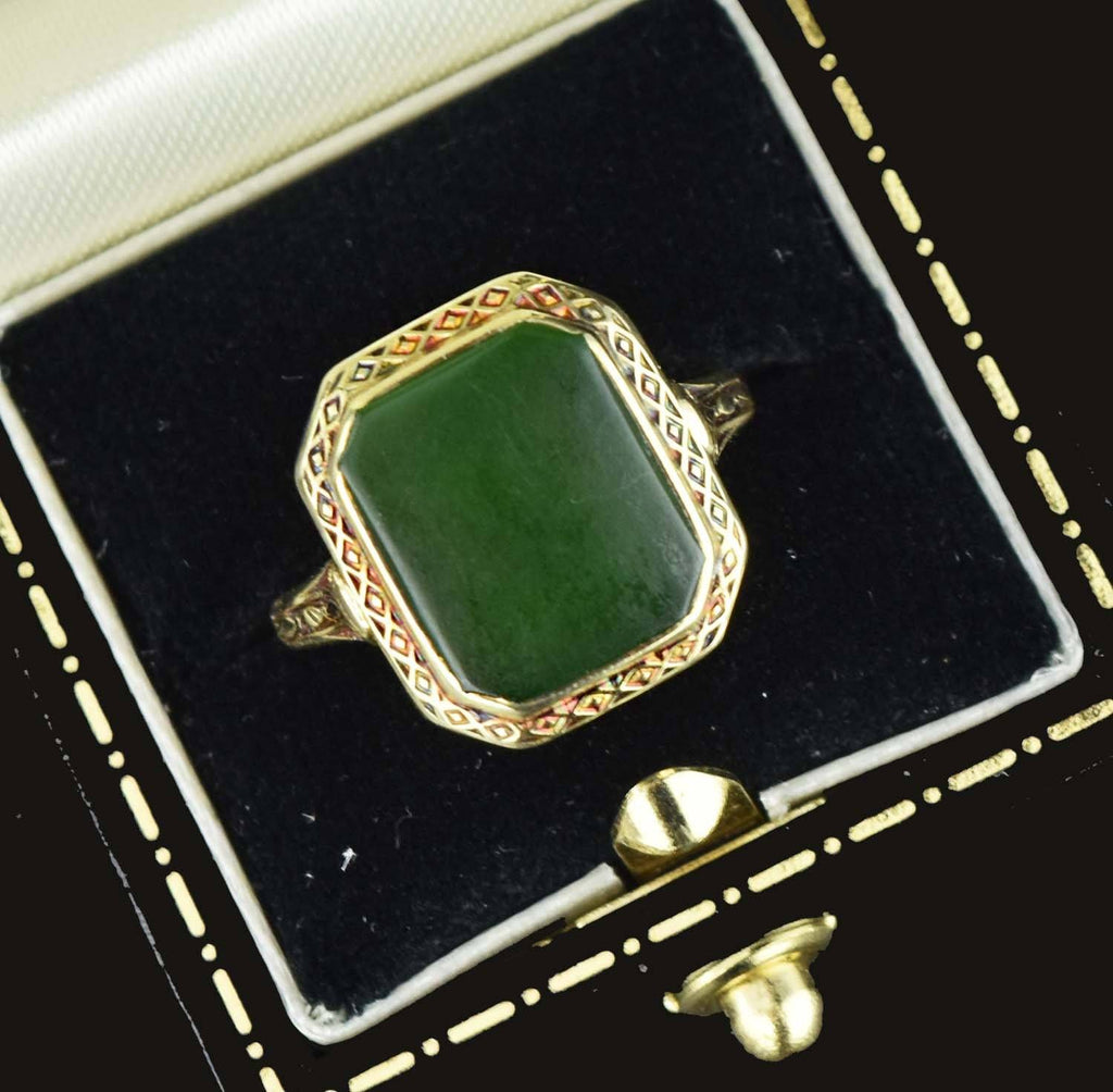 14K Yellow Gold Vintage Signet Natural Jade RIng - Boylerpf