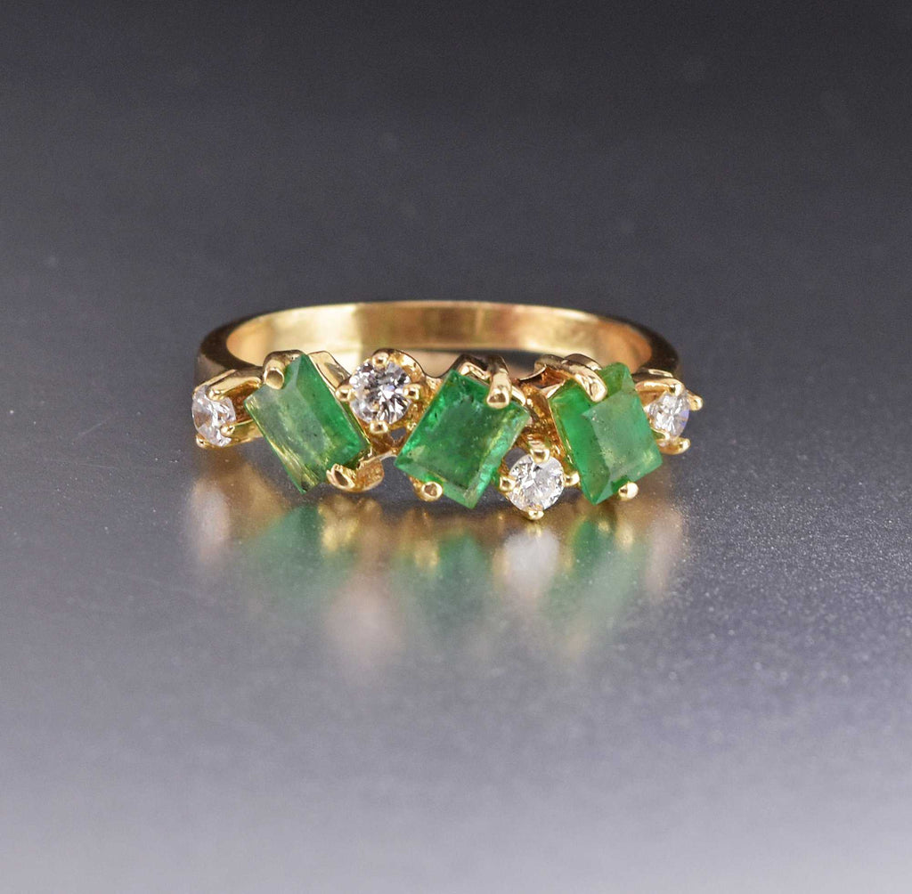 Vintage 14K Gold Emerald Diamond Ring - Boylerpf