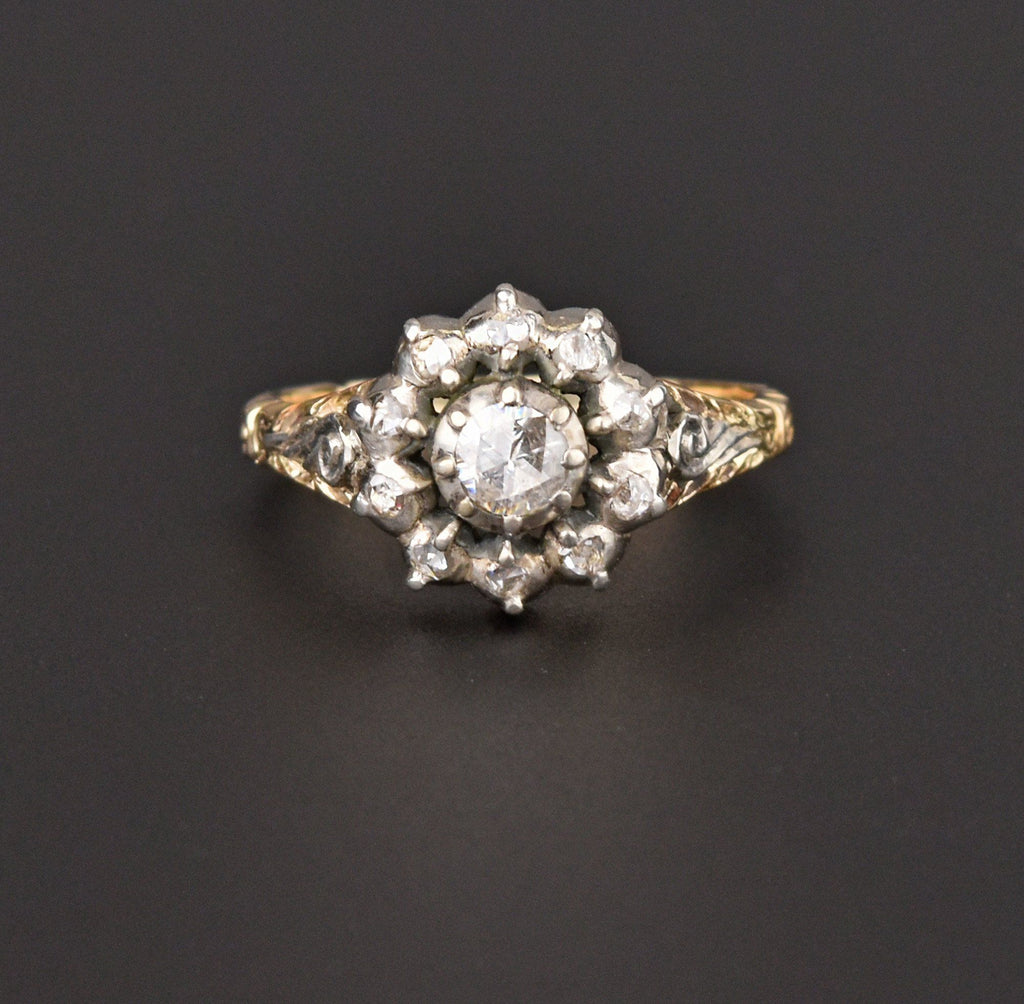 14K Gold Rose Cut Diamond Engagement Ring, Georgian Style - Boylerpf