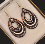 Victorian Double Hoop 14K Gold Pique Earrings - Boylerpf