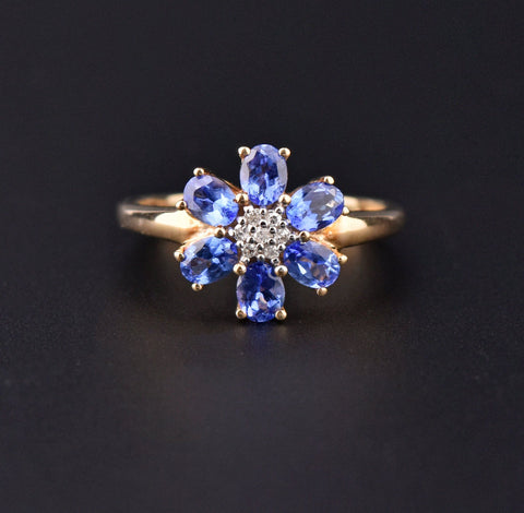 Aquamarine Flower Cluster White Gold Band Ring