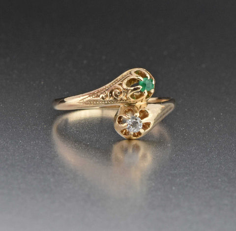 Antique Emerald and Diamond Bypass Ring, 1900