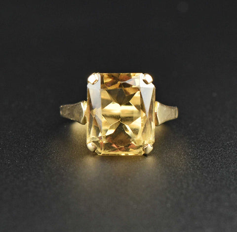 Vintage 18K Gold Diamond Halo Citrine Engagement Ring