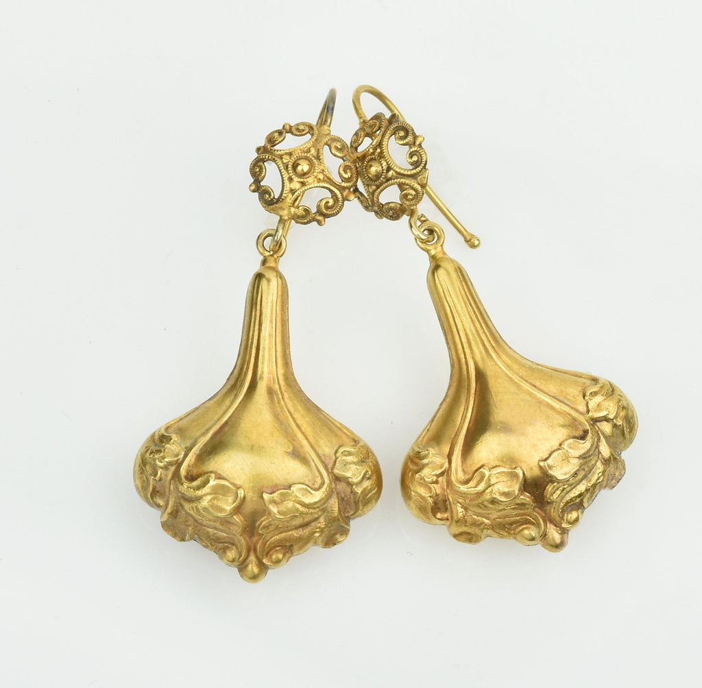 18k Gold Silver Large Art Nouveau Earrings - Boylerpf