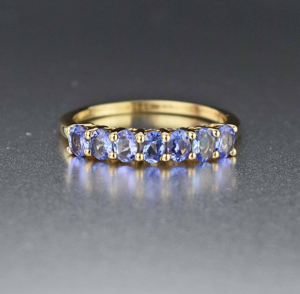 Yellow Gold,Tanzanite Half Eternity Wedding Band RIng - Boylerpf