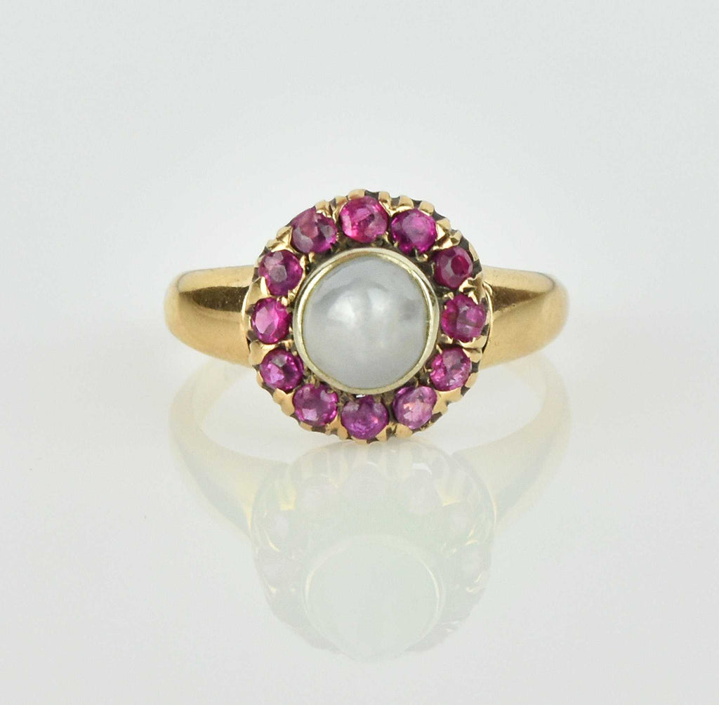 Antique 14K Gold Moonstone and Ruby Ring - Boylerpf