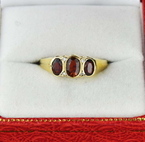 Vintage Diamond Three Stone Garnet Ring