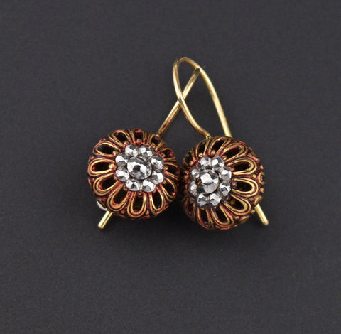 Victorian French Filigree 14K Gold Cut Steel Earrings