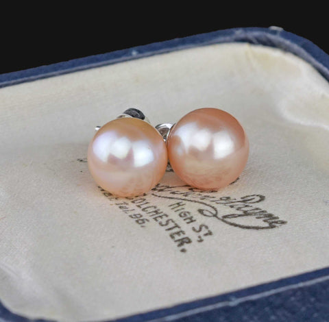 Cultured Pink Pearl 9mm Gold Stud Earrings