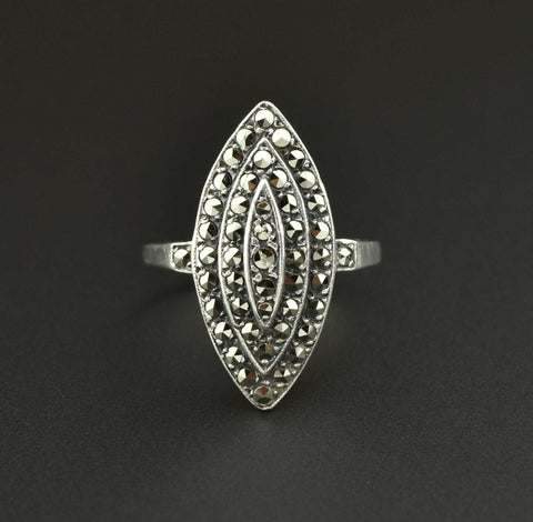 Art Deco Vintage Marcasite Silver Ring