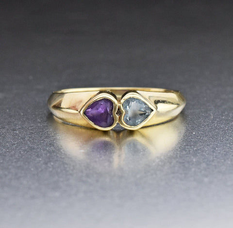 Amethyst and Aquamarine Heart 14K Gold Ring