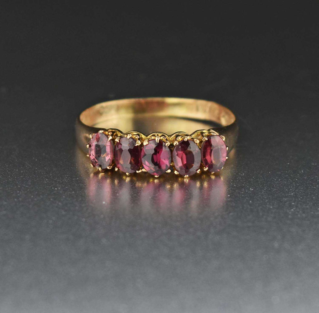 Five Stone Rhodolite Garnet Wedding Band Ring C.1881 - Boylerpf