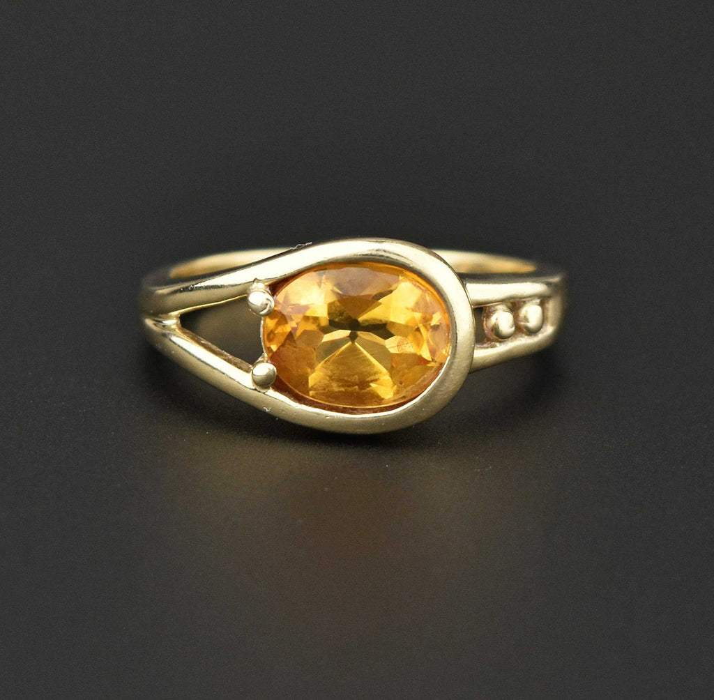 Vintage Buckle Style Gold Citrine Ring - Boylerpf