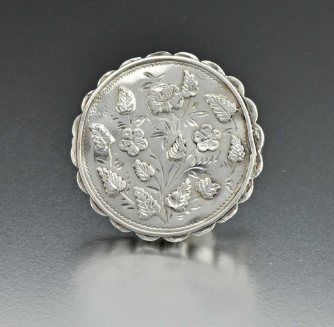 Antique Forget Me Not Silver Brooch Locket, Victorian 1890s