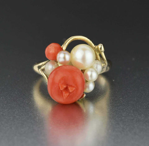 Deposit 14K Gold Vintage Pearl Coral Ring - ON HOLD
