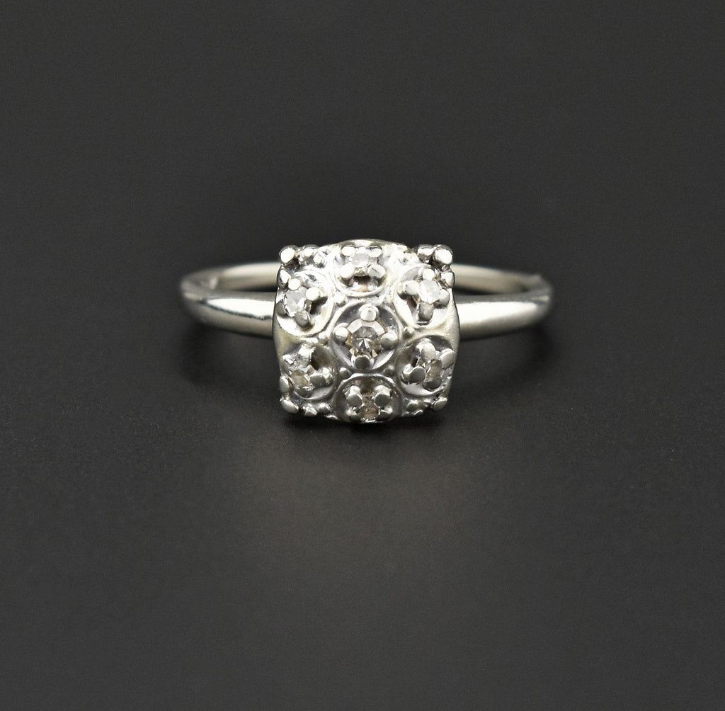 Art Deco 14K White Gold Diamond Engagement Ring