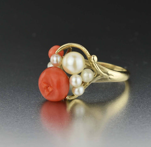 14K Gold Vintage Pearl Coral Ring - ON HOLD