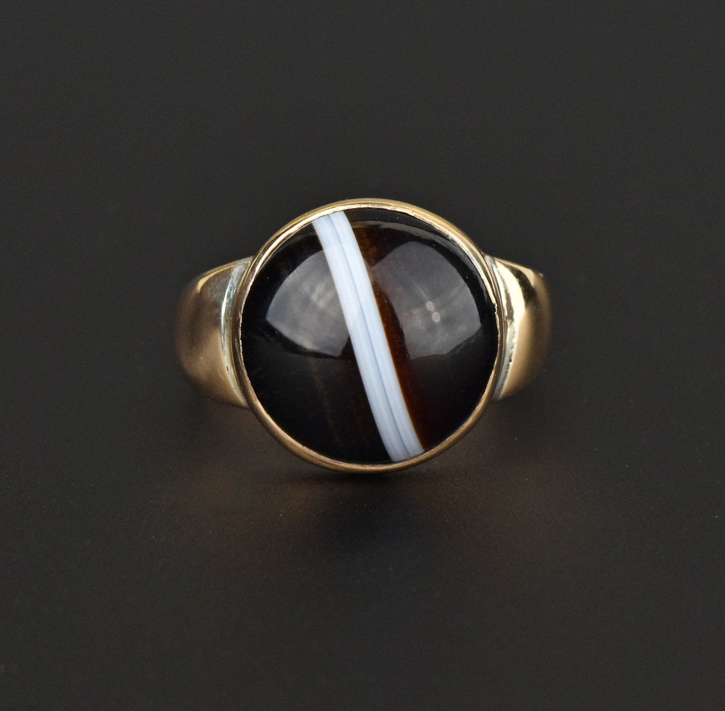 Antique Large Banded Agate Gold Ring, Size 10.25 - Boylerpf