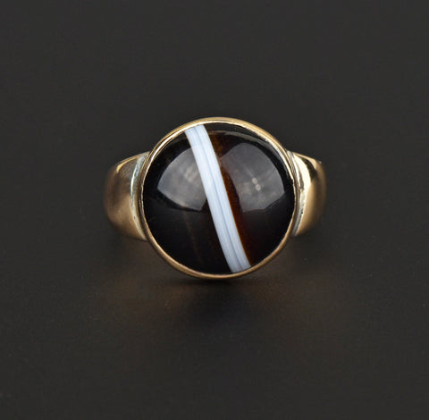 Antique Large Banded Agate Gold Ring, Size 10.25