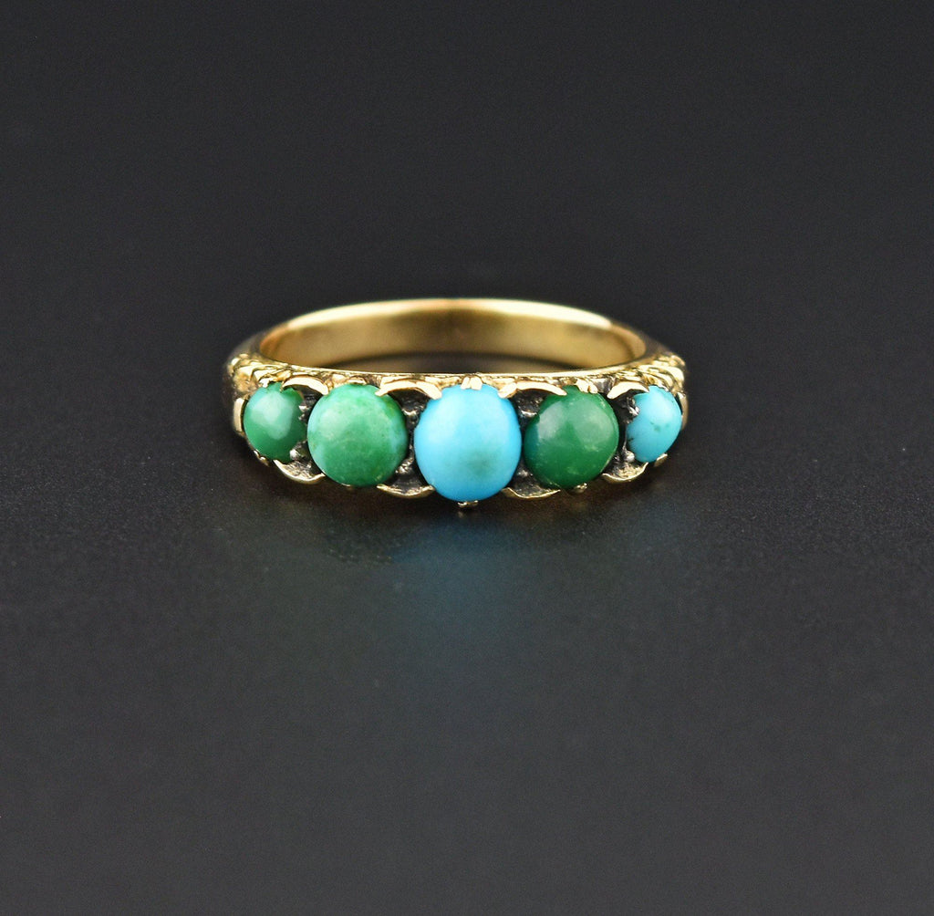 Victorian 18K Gold Five Stone Persian Turquoise Band Ring - Boylerpf
