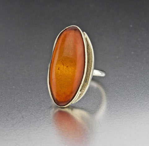 Baltic Amber Sterling Silver Statement Ring