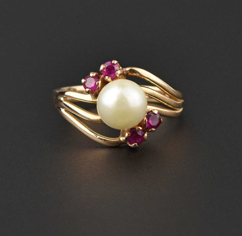 Vintage Pearl and Ruby Bypass 18K Gold Ring