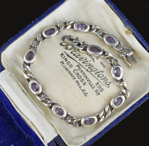 Amethyst Sterling Silver Curb Chain Bracelet