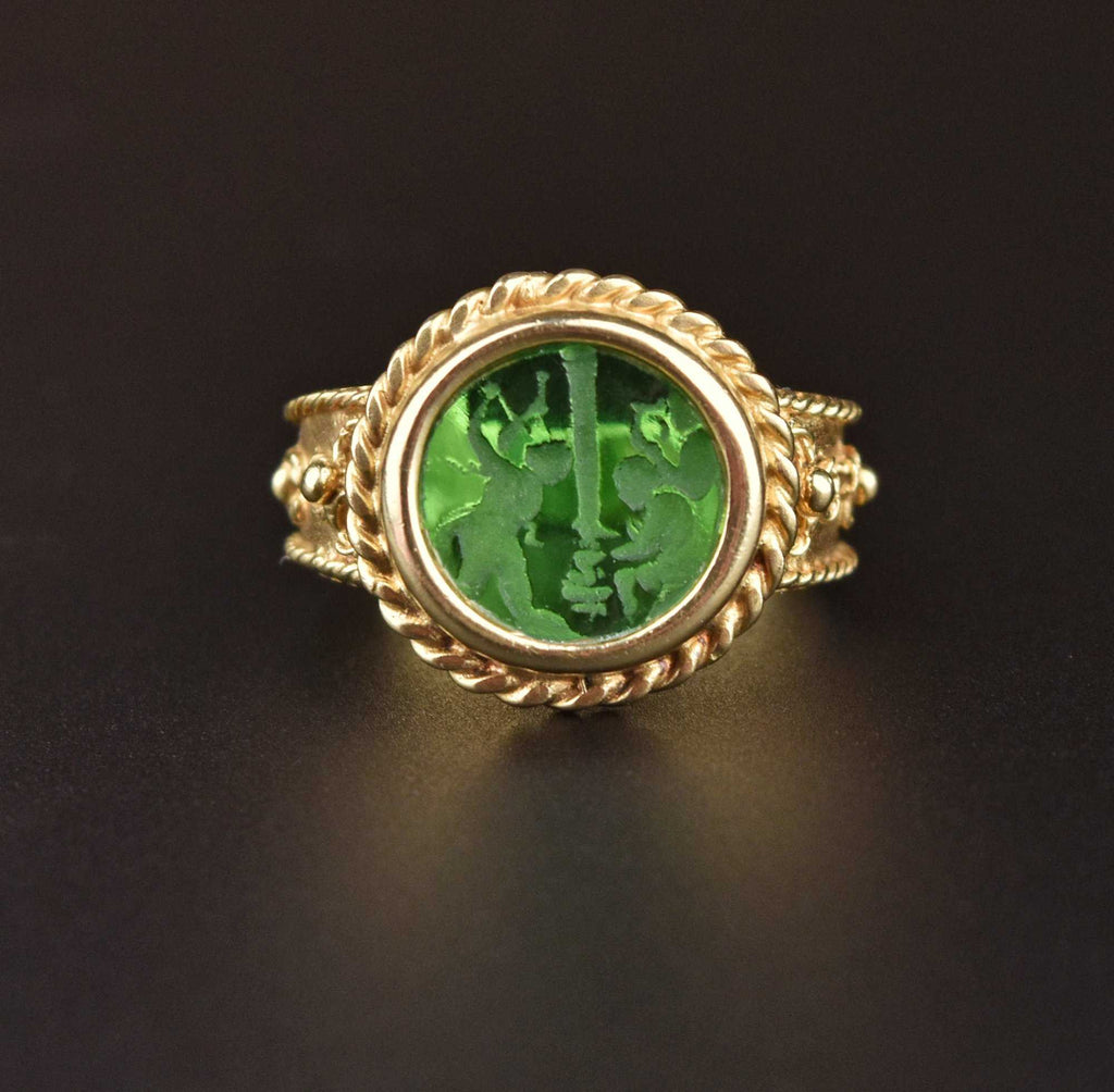 Italian 14K Gold Emerald Quartz Intaglio Ring - ON HOLD - Boylerpf
