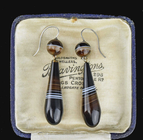 Victorian Long Scottish Banded Agate Earrings