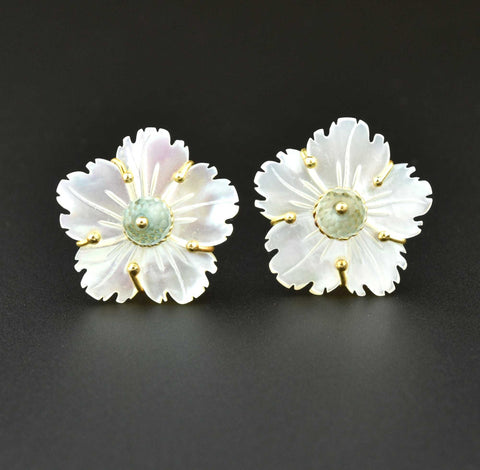 Estate 18K Gold Tourmaline Pearl Stud Earrings - ON HOLD