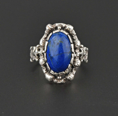 Arts & Crafts Frosted Rock Crystal Ring, C. 1910