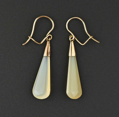 Victorian Solid Gold Honey Agate Drop Earrings