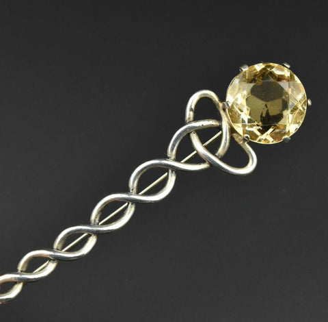 Antique Sterling Silver Celtic Comet Citrine Brooch