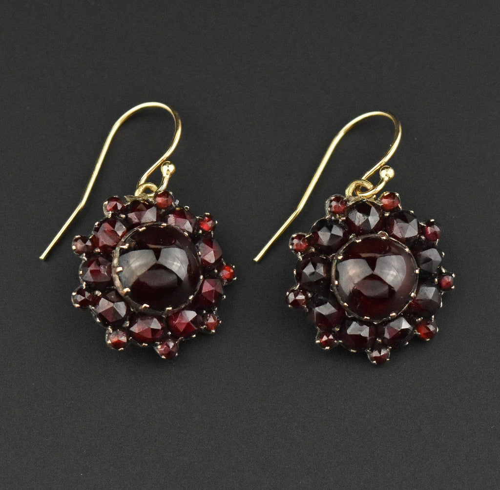 Victorian Bohemian Garnet 14K Gold Drop Earrings - Boylerpf