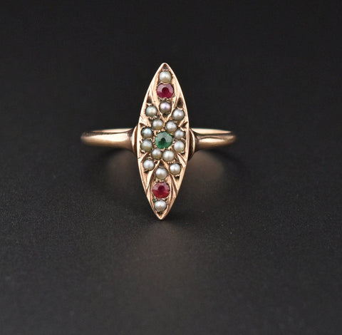 Victorian Ruby Emerald Pearl Rose Gold Navette Ring