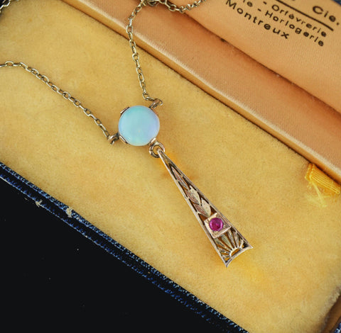 Edwardian Opal and Ruby Lavaliere Necklace, C 1900