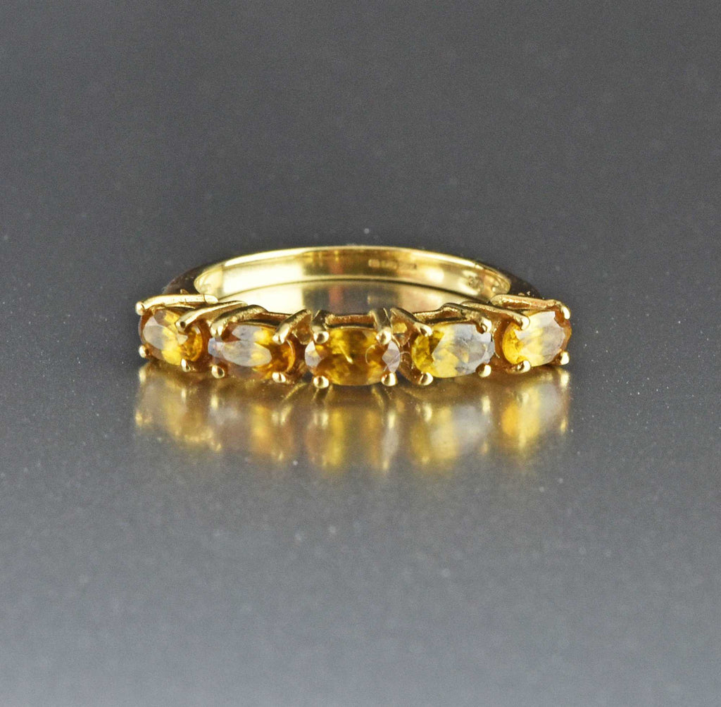 Gold Five Stone Citrine Half Eternity Band Ring - Boylerpf