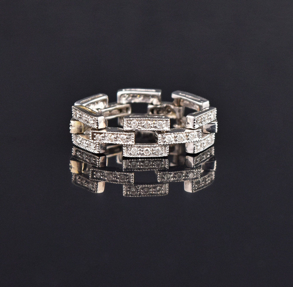 14K Gold Diamond Chain Link Band Ring - Boylerpf