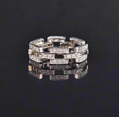 14K Gold Diamond Chain Link Band Ring