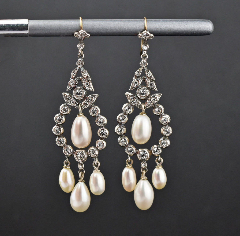 9K Gold & Silver Paste Pearl Chandelier Earrings - Boylerpf