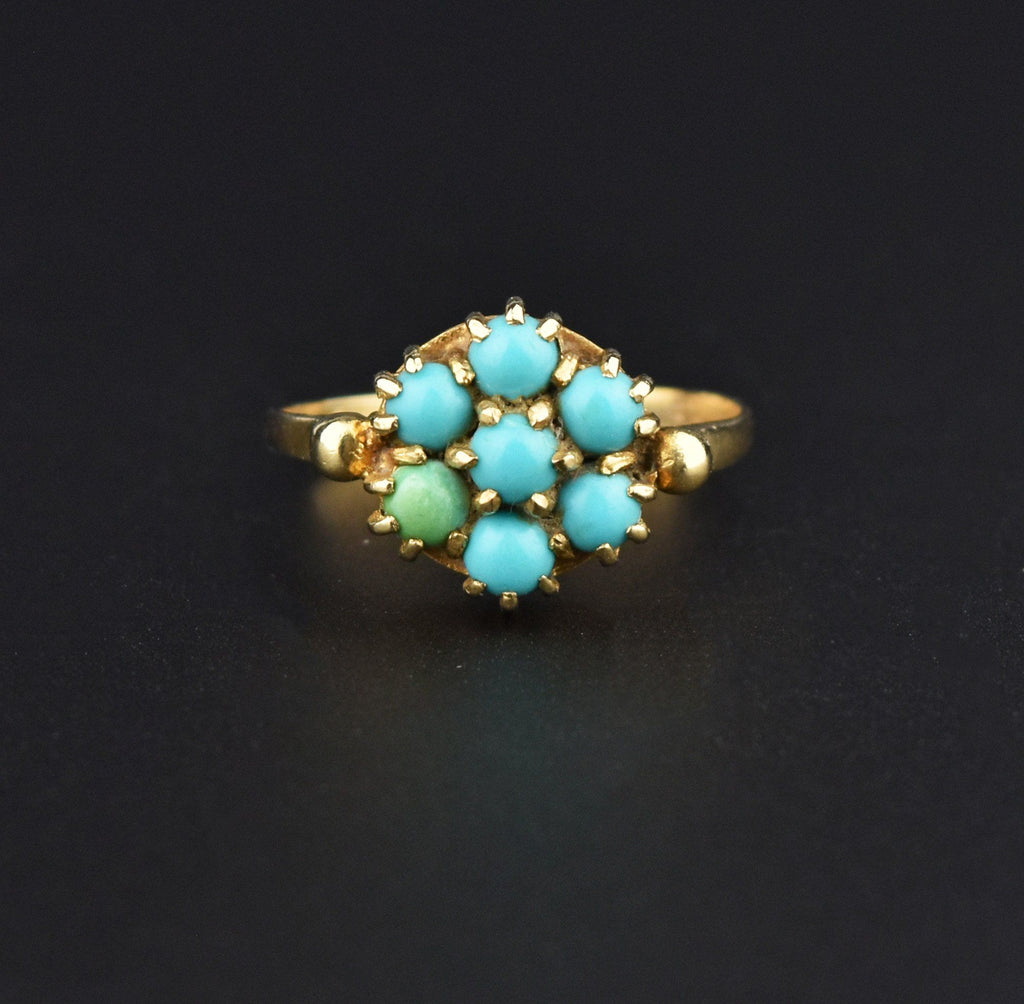 Vintage Gold Victorian Style Turquoise Cluster Ring - Boylerpf