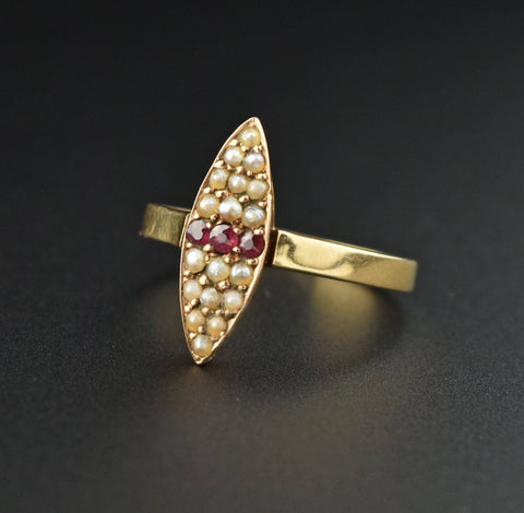 Antique 14K Gold Ruby Pearl Navette Ring, 1890s