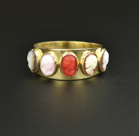 Victorian 18K Gold Italian Cameo Eternity Band Ring