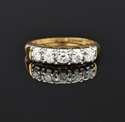 Vintage 14K Gold Five Stone Diamond Wedding Ring